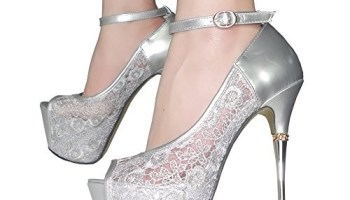 50a14be05ba Getmorebeauty Women s Silver Lace Flower Strappy Hollow High Heels 6 B(M) US