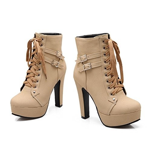 Autumn Round Toe Ankle Buckle Chunky High Heel Platform Knight Martin Boots