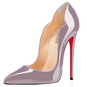 super popular b97ca 8b16f Modemoven Women s Lilac Purple Patent with Red Soles Sexy Point Toe High  Heels,Patent Leather Pumps,Wedding Dress Shoes,Cute Evening Stilettos - 5 M  US ...