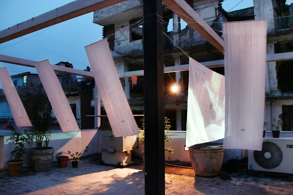 Installation view, CON-TEXTURE, KHOJ, roof top, New Delhi, IN, 2016