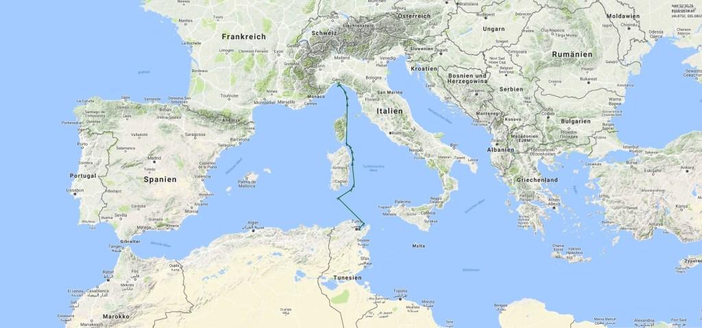 Live tracked lantern cargo shipment Tunis / Genoa, 17-19th March: AMILCAR, MMSI: 672747000