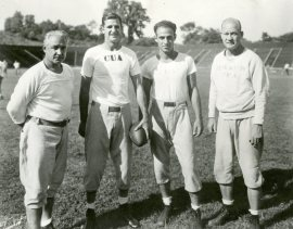 "Left to right, CUA Football Coach Arthur J. ""Dutch"" Bergman, NFL Hall of Famer and Redskins great Sammy Baugh, and assistant coaches Wayne Millner and Forrest Cotton, 1939"