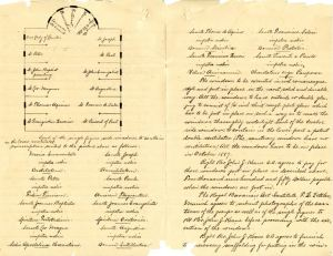 Page from the original 1888 contract between Rt. Rev. John J. Keane and the Benzinger Brothers with the proposed window layout. [source: Office of the President/Rector Papers, ACUA]