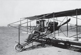 Albert Zahm seated in a Curtiss Model D. (Courtesy: Wright Bros. Aeroplane Co.)