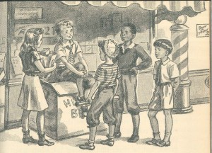 "Image from ""Eddie Patterson's Friend,"" from These Are Our People (Ginn and Company, 1943). What's wrong with Eddie's friends? The story's answer: not a thing."