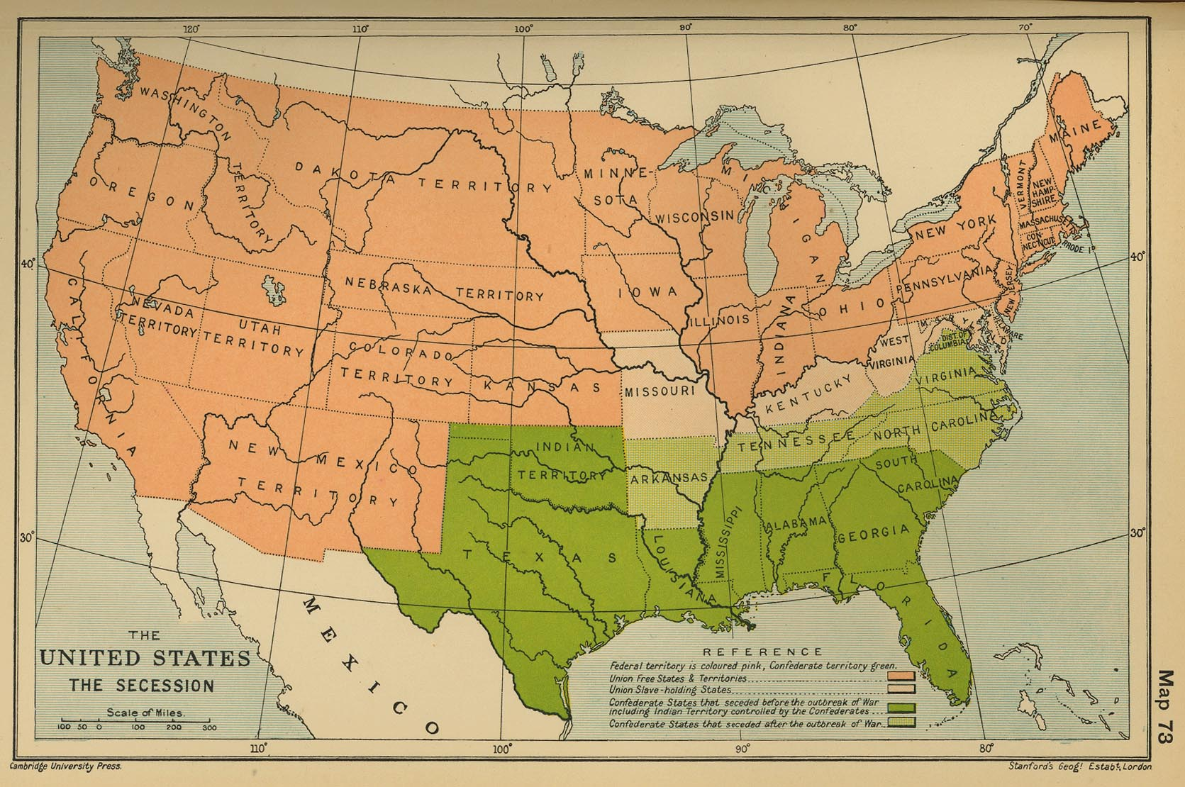USA Country Scale Maps     The United States  The Secession