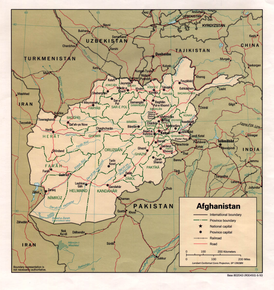 Middle Afghanistan East And Map 2005