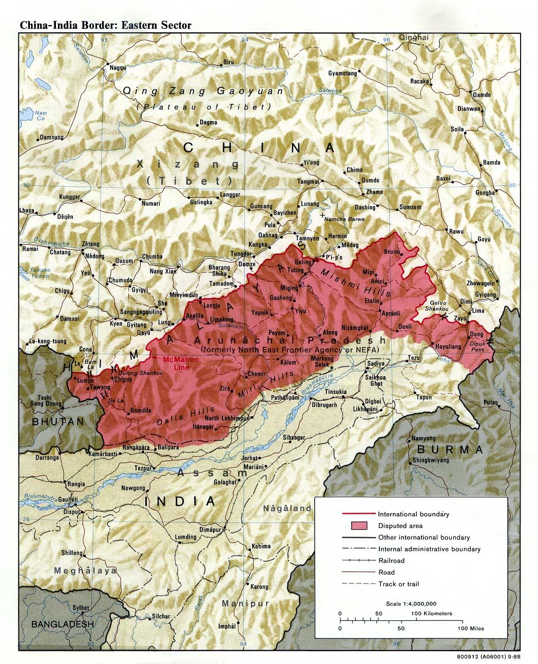 Les territoires disputés de la NEFA (aujourd'hui État d'Arunachal Pradesh) suivant la ligne McMahon © Université d'Austin, Texas