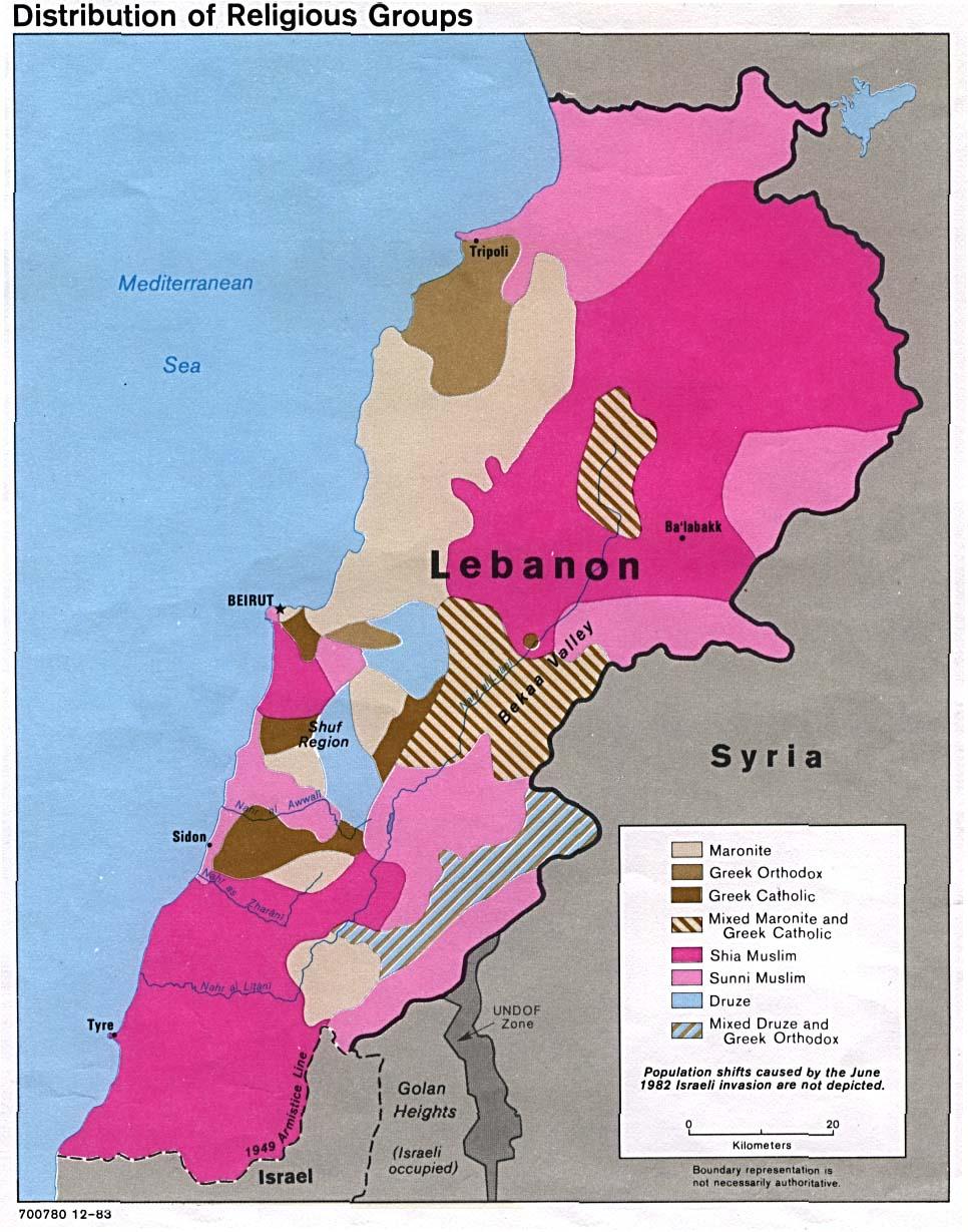 Distribució de le principals comunitats religioses al Liban