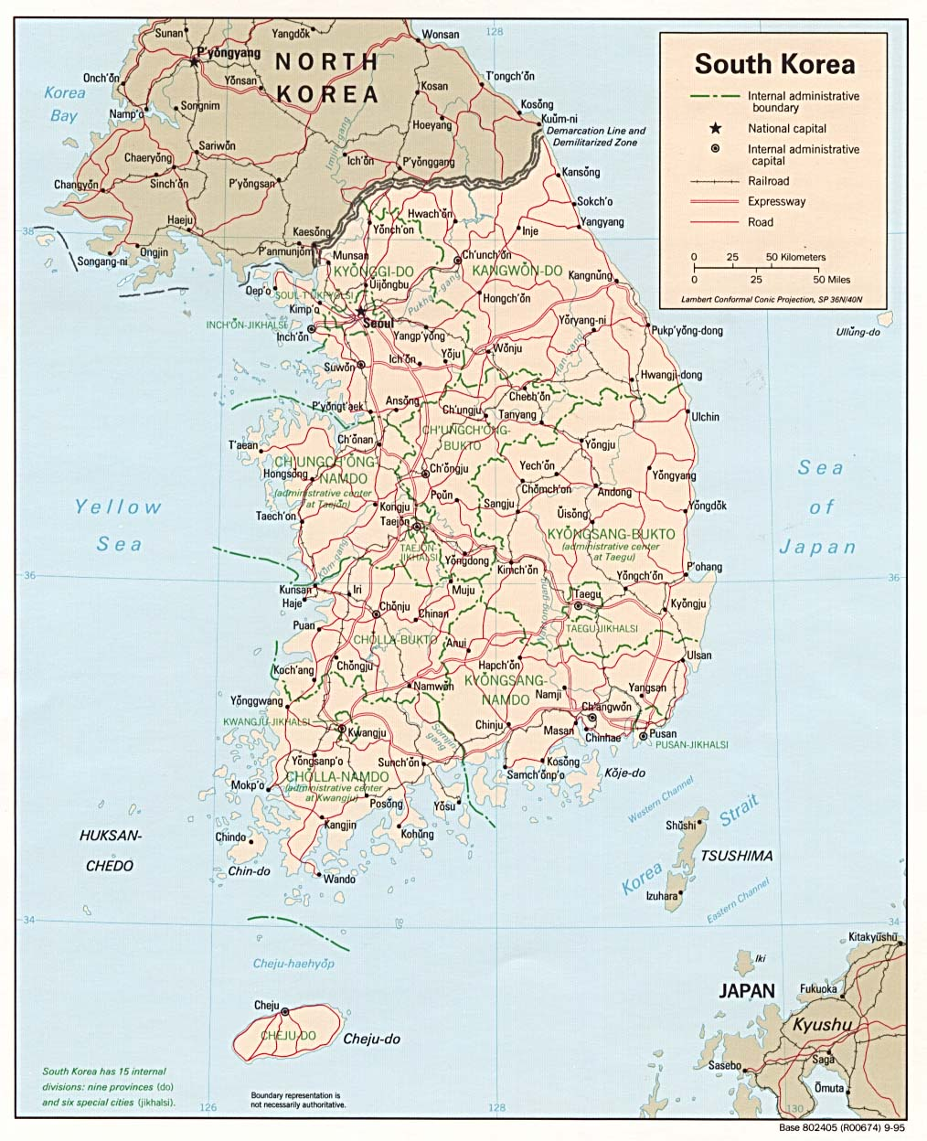 Map South Korean Cities And Towns