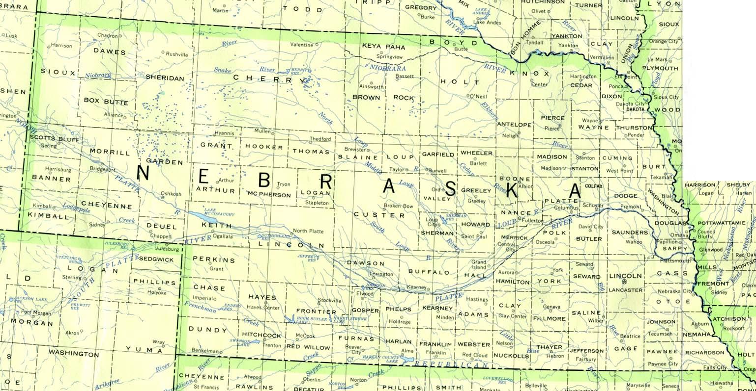 Nebraska Outline Maps And Map Links
