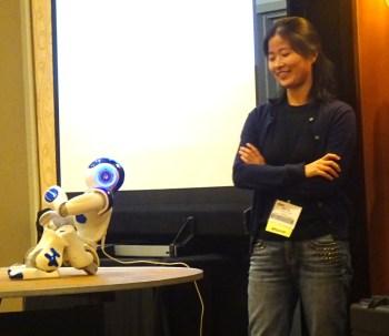 Dan Lou With Dewey the Robot