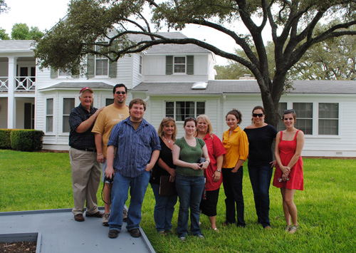 Faculty and students in front of LBJ's Texas White House