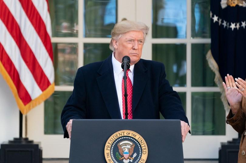 Donald Trump i rosehagen. Foto: Andrea Hanks.