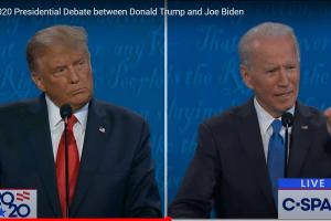 President Donald Trump og visepresident Joe Biden fra den andre presidentdebatten i 2020. Skjermdump fra CSPAN.