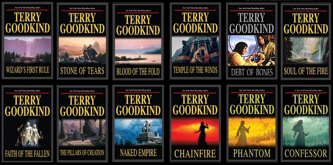 Forsidene på de tolv første bøkene i Sannhetens sverd-serien.