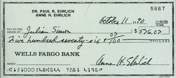 Cheque enviado a Julian Simon por Ehrlich