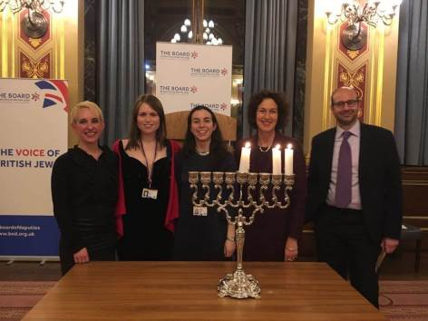 Rabbi Charley Baginsky with JNet co-chairs Rebecca Viney and Sophie Ross, Board of Deputies CEO Gillian Merron and Rabbi Dr Raphael Zarum