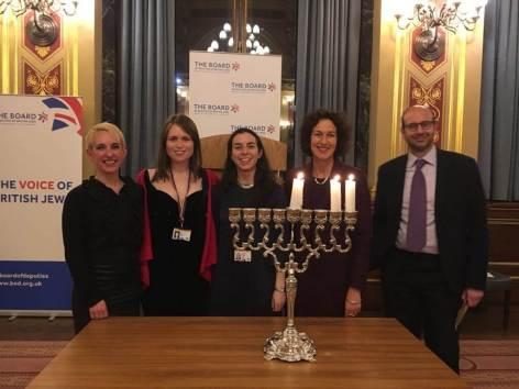Rabbi Charley Baginsky with JNet co-chairs Rebecca Viney and Sophie Ross, Board of Deputies CEO Gillian Merron and Rabbi Dr Raphael Zarum