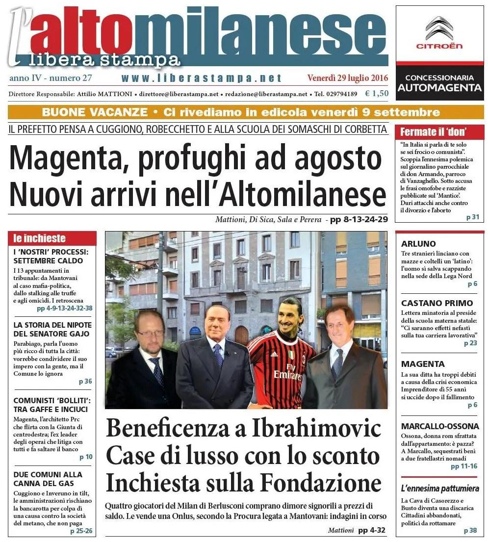 prima pagina libera stampa l'altomilanese 29 luglio 2016 anteprima notizie