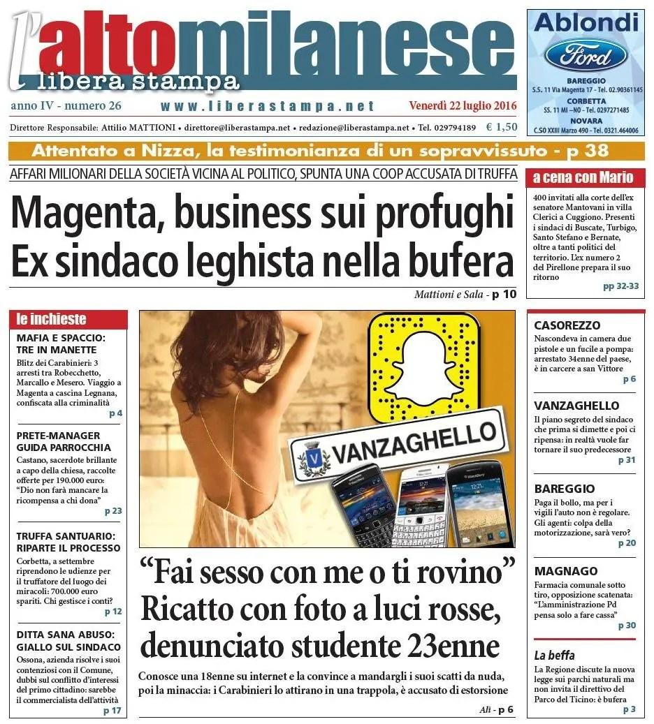prima pagina 22 luglio 2016 libera stampa l'altomilanese anteprima notizie