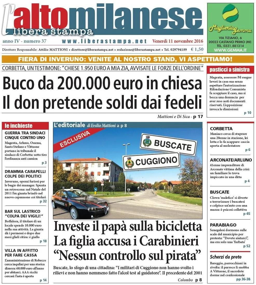 prima-pagina 11 novembre 2016 anteprima notizielibera stampa laltomilanese