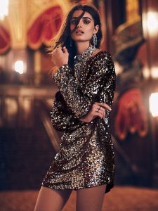 free people tunic gold sequin plunging deep v dress sequins liberata dolce all that glitters post fashion blogger blog fall winter 2015