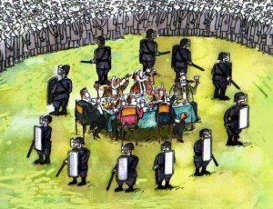 The-Ruling-Elite-Feasting-on-a-Banquet-Protected-By-a-Circle-of-Their-Police-Guard-Dogs