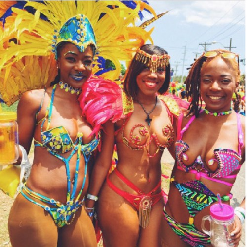The Trinidad Carnival, ladies enjoy the sun and festivities