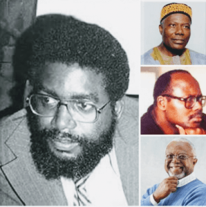 Main pic: Gabriel Bacchus Matthews(deceased), leader of the Progressive Alliance of Liberia(PAL), Togba-nah Topoteh, leader of Movement for Justice in Africa(MOJA), H. Boimah Fahnbulleh, Jr. of MOJA and Amos C. Sawyer of MOJA. PAL and MOJA were the two progressive political advocacy groups that led the struggle for social justice and democratic change in Liberia.