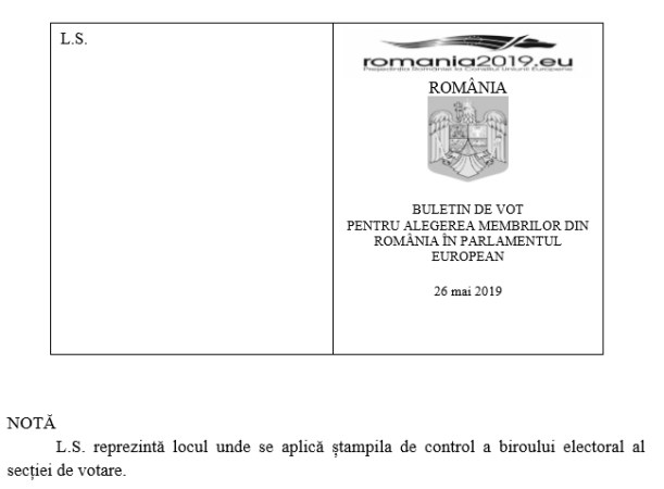 S-a stabilit modelul buletinului de vot pentru europarlamentare
