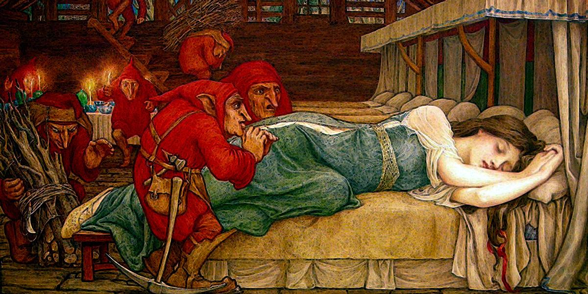 Biancaneve e i settenani 1897, pittura di John Dickson Batten (1860-1932)