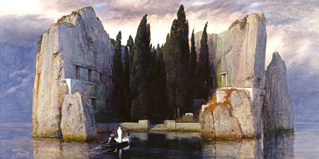 Arnold Böcklin, L'isola dei morti, terza versione (1883); olio su pannello, 80×150 cm, Alte Nationalgalerie, Berlino