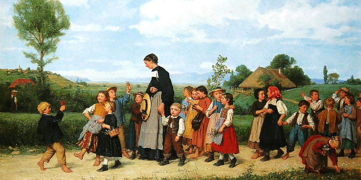 Der Schulspaziergang. Albert Anker