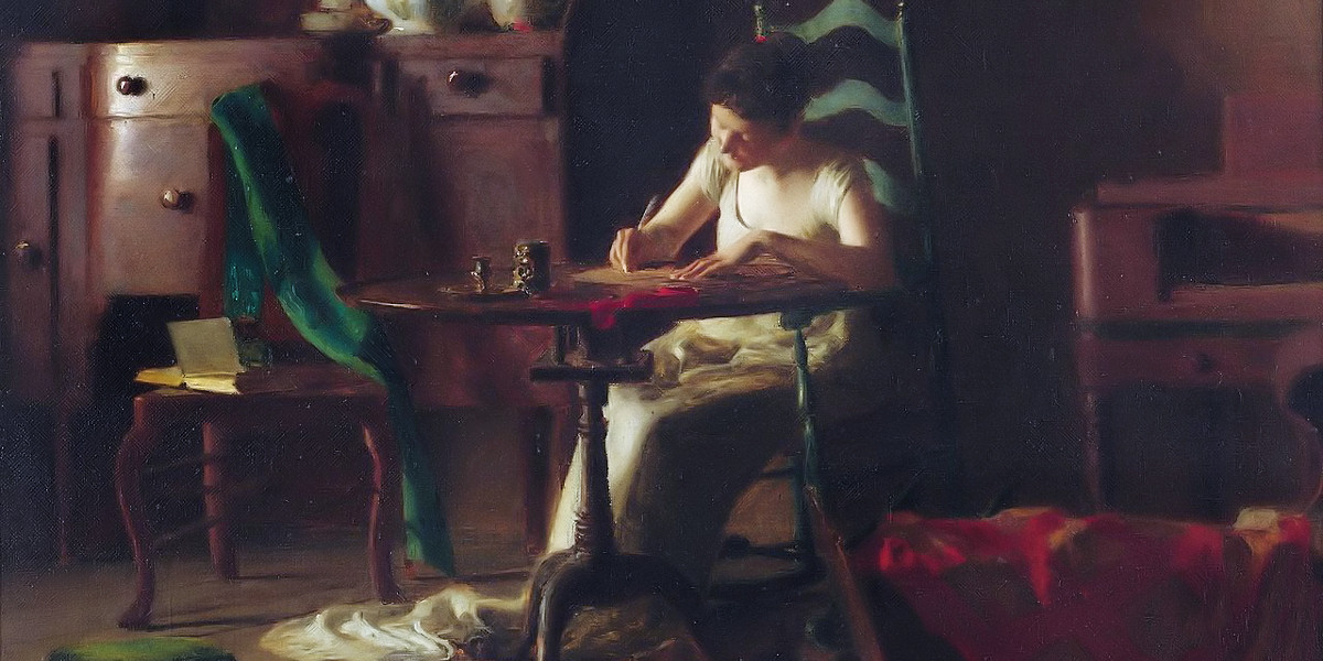 Woman writting on a table. Thomas Pollock Anshutz