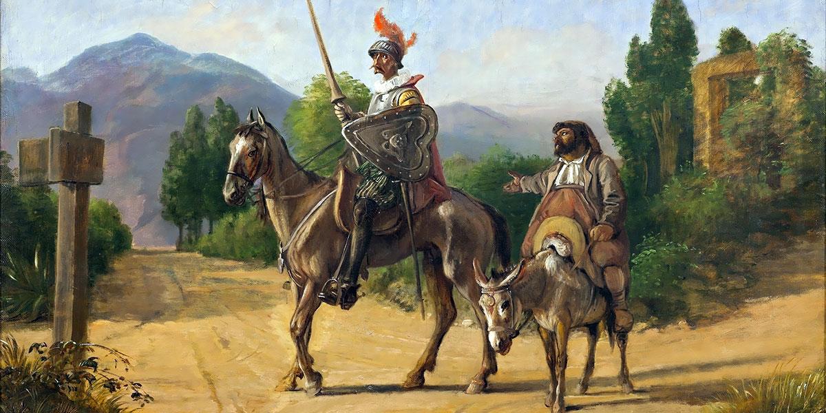 Don Quixote and Sancho Panza at a crossroad. Wilhelm Marstrand
