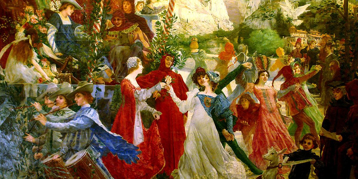"""""""La farandole de Pétrarque"""" (installed in 1900) di Marie Alexandre Valentin Sellier (19/20th century)"""
