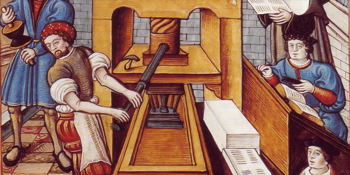 La bottega di uno stampatore con il torchio a mano (miniatura). Autore anonimo del cinquecento