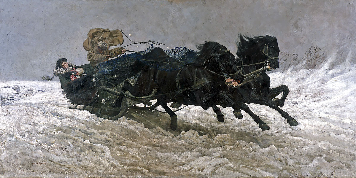 Return from a ball (Sleigh ride). Józef Marian Chełmoński (1849–1914)