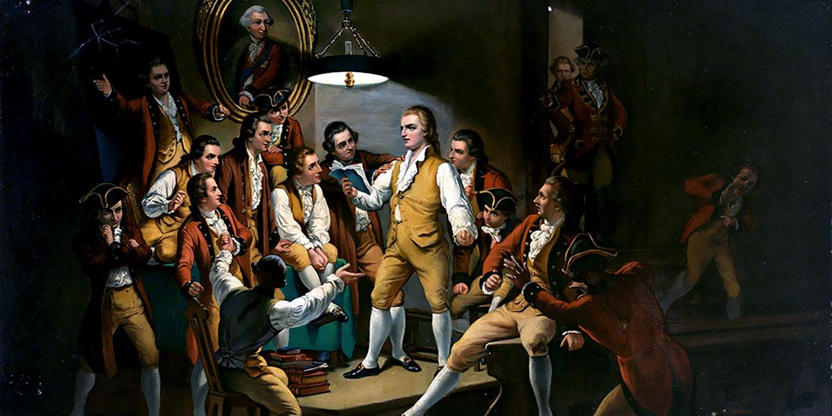 """Schiller legge ai suoi amici """"I masnadieri"""" in un luogo segreto, mentre gli scagnozzi del duca si avvicinano. Autore anonimo"""