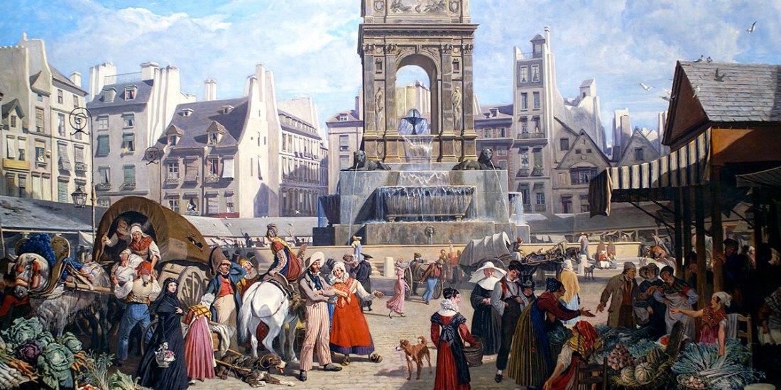 La fontana degli Innocenti al centro della piazza del mercato. John James Chalon. Musée Carnavalet, Paris, France