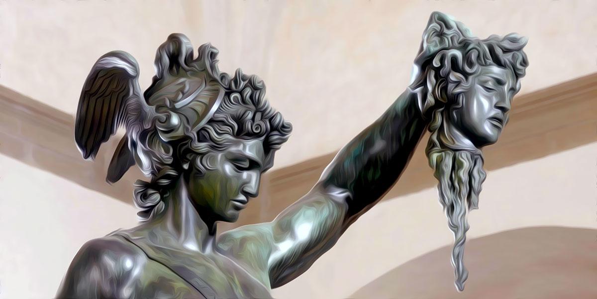 Perseo con la testa di Medusa. Scultura bronzea di Benvenuto Cellini