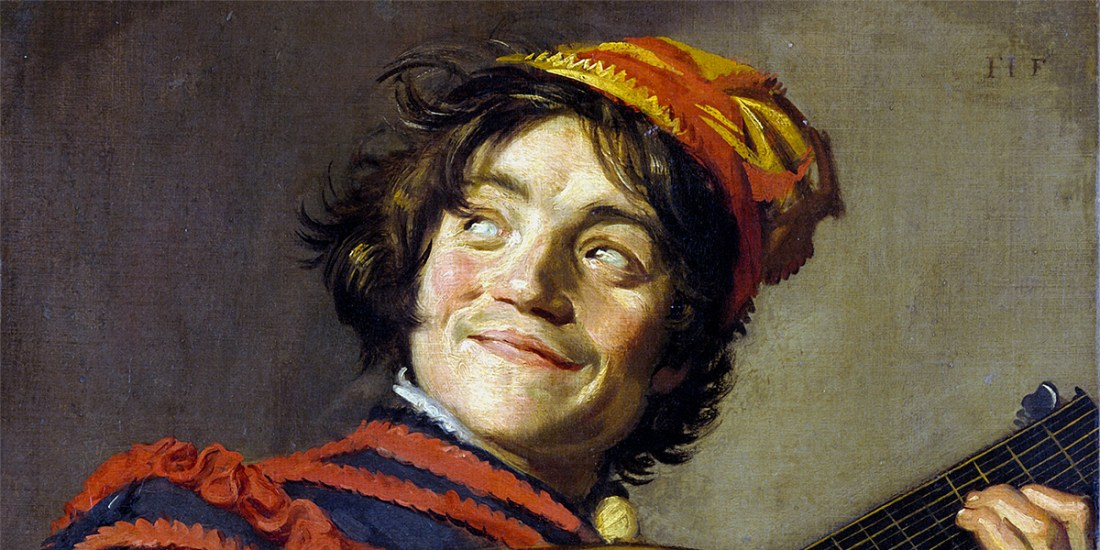 Buffoon playing a lute. Frans Hals