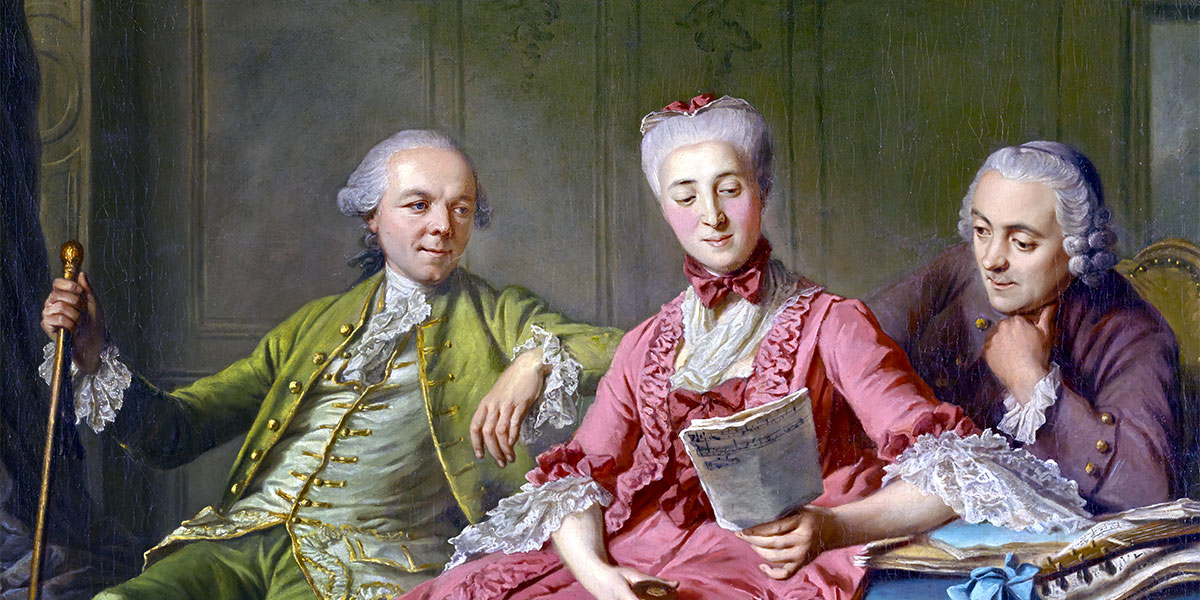 """""""Presumed Portrait of the Duc de Choiseul and Two Companions (ca 1775)"""" di Jacques Wilbaut (French, 1729 - about 1816)."""