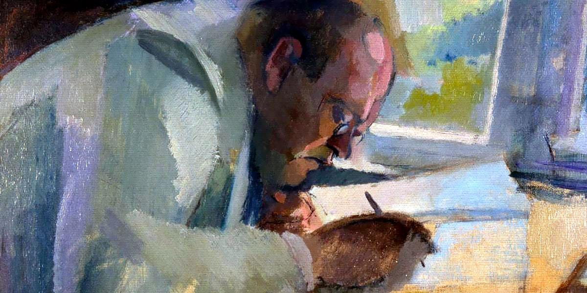 Max Reger at work. Dipinto di Franz Nölken