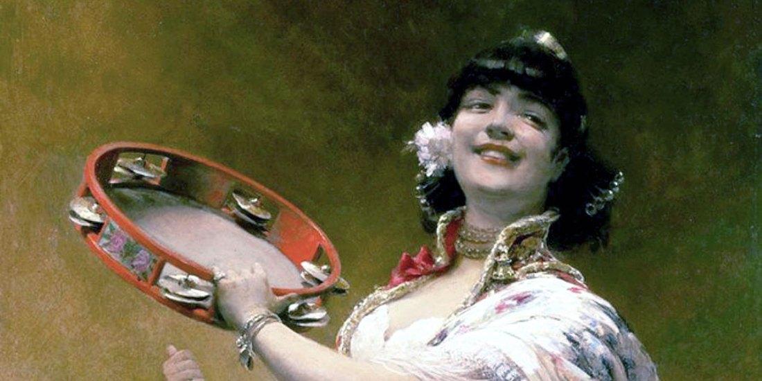 Gypsy Girl with a Tambourine. Alois Hans Schram