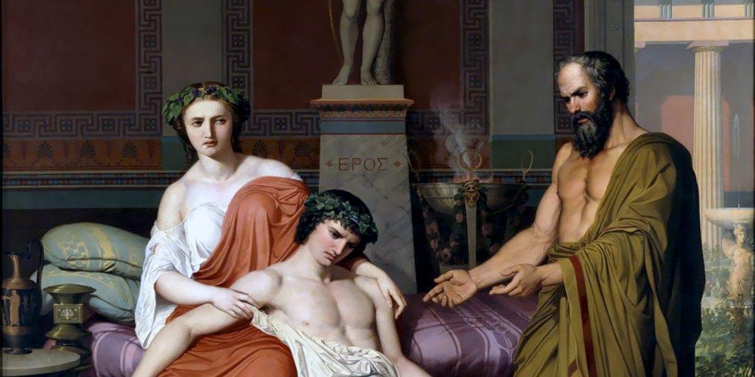 Germán Hernández Amores (1823/27-1894), Socrates Chiding Alcibiades in Home of a Courtesan (1857), Museo Nacional del Prado, Madrid