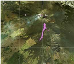 Figura 5 Mappa del flusso di lava ottenuta elaborando il dato Sentinel-2A del 26 Marzo 2017. In viola è evidenziata la colata alla data di acquisizione del satellite