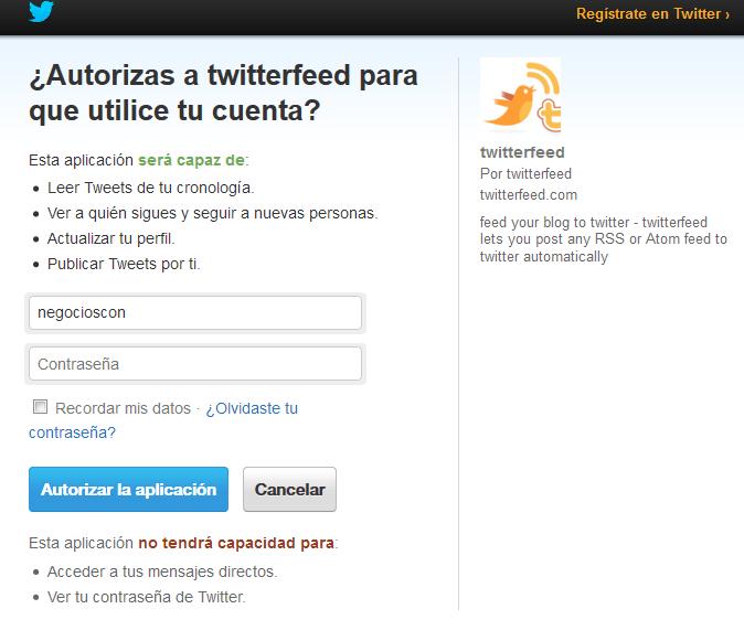 permisos twitter a twittfeed