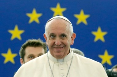 Pope Francis addresses the European Parliament at the institution's headquarters in Strasbourg, November 25, 2014. REUTERS/Christian Hartmann (FRANCE - Tags: POLITICS RELIGION)